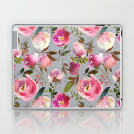 Gray blush pink coral yellow hand painted floral Laptop & iPad Skin
