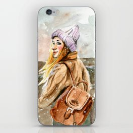 blond girl with long hair on a street iPhone Skin