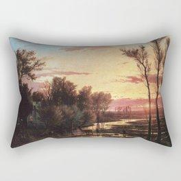 Un tramonto dopo la pioggia: A sunset after rain 1864 Rectangular Pillow