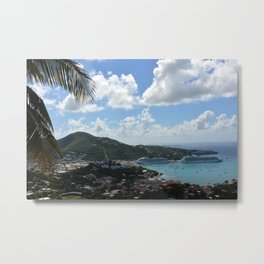 Overlooking the Port at Charlotte Amalie Metal Print