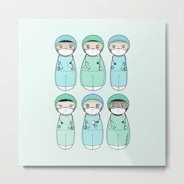 Kokeshis Nurses and doctors with EPI Metal Print