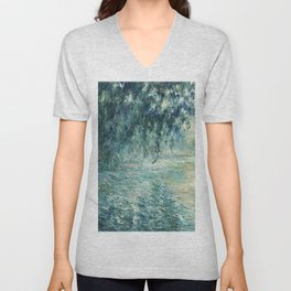 1898-Claude Monet-Morning on the Seine- 73 x 91 Unisex V-Neck