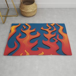 Classic Hot Rod Fire Flames Rug