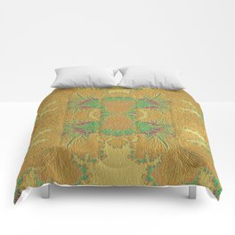 Golden Peacock Modern Abstract Pattern Comforters