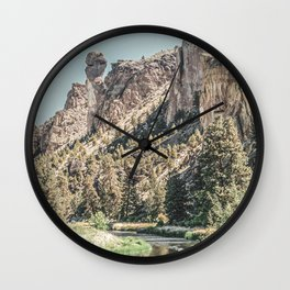 Vintage Smith Rock State Park // River and Rocks Scenic Hiking Landscape Photograph Wall Clock