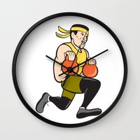crossfit Wall Clocks featuring Crossfit Runner With Kettlebell Cartoon by patrimonio