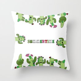 Cactus Family (colour version) Throw Pillow