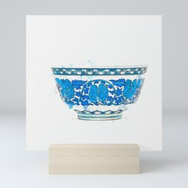 A FINE BLUE AND WHITE 'FLORAL SCROLL' DEEP BOWL watercolor by Ahmet Asar Mini Art Print