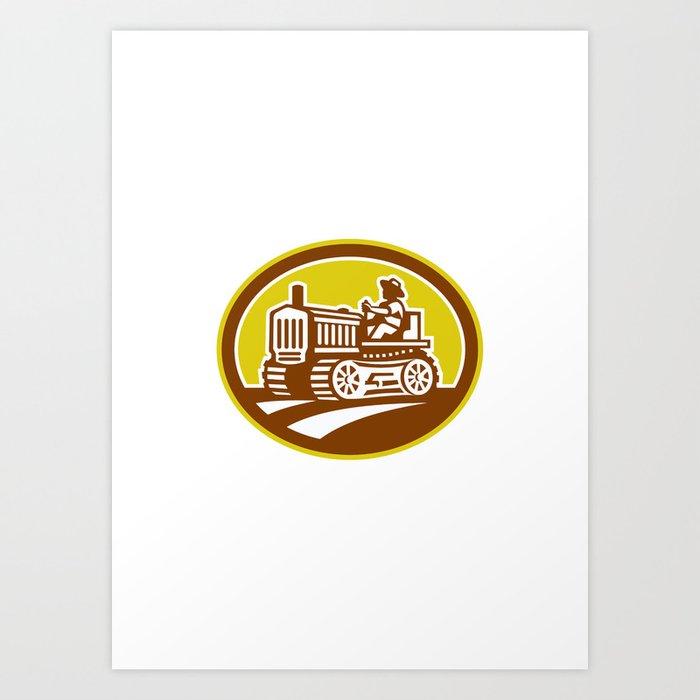 Farmer Drive Vintage Tractor Oval Retro Art Print By Patrimonio