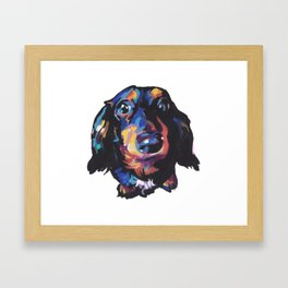 Dachshund Dog bright colorful Doxie Portrait Pop Art Painting by LEA Framed Art Print