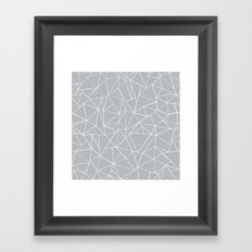 Abstract Lines 2 White on Grey Framed Art Print