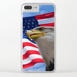 American Flag and Bald Eagle Clear iPhone Case