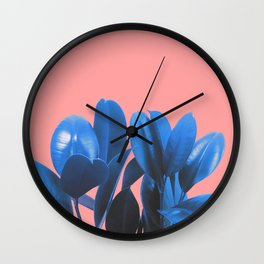 Blue Plant Pink Background Wall Clock