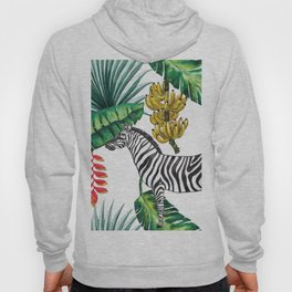 watercolor banana leaves with zebra Hoody
