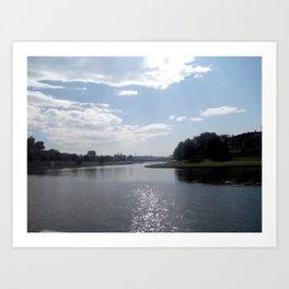 Vistula River, Kraków, Poland Art Print