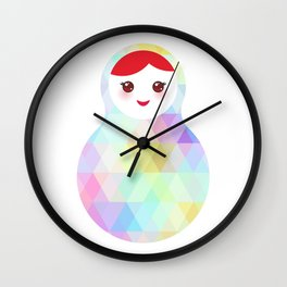 Russian doll matryoshka with bright rhombus on white background, rainbow pastel colors Wall Clock