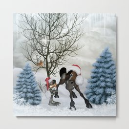 cute bird and horse with christmas hat Metal Print