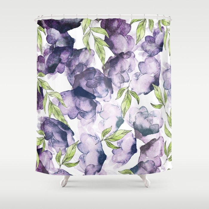 Watercolor + Ink Florals #society6 #decor #buyart Shower Curtain
