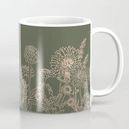 Blush and Moss  Line Drawing Botanical Sketch Cottage Flowers Pollinator Garden Spring Easter Decor Coffee Mug