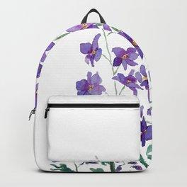 purple blue delphinium watercolor Backpack