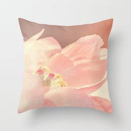 Single Pink Peony Flower Throw Pillow
