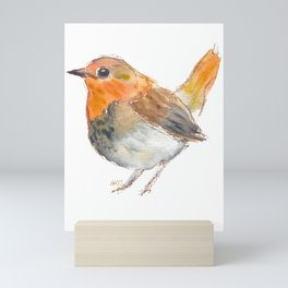 Little orange bird Mini Art Print