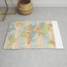 World Time Zone Map Rug