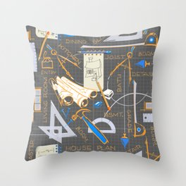 Architects + Builders Tools Pattern Throw Pillow