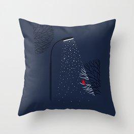 Night. Snow. Bird. Throw Pillow