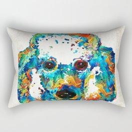 Colorful Poodle Dog Art by Sharon Cummings Rectangular Pillow