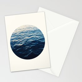 Mid Century Modern Round Circle Photo Graphic Design Ripples Of Ombre Blue Water Stationery Cards