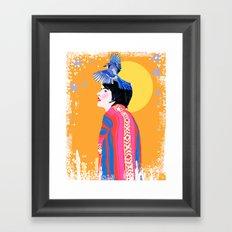 Blue Jay Desert Woman Framed Art Print