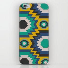 Ethnic in blue, green and yellow iPhone Skin