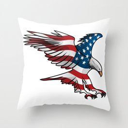 Patriotic Flying American Flag Eagle Throw Pillow