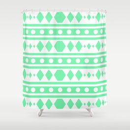 Mint Tribal Pattern Shower Curtain