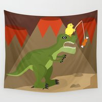 dinosaur Wall Tapestries featuring dinosaur by Nir P