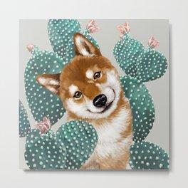 Shiba Inu and Cactus Metal Print