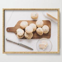 Cheddar Cheese Ham Scones Muffins, Food Photography Print, Restaurant Cuisine Art Print, Kitchen Print, Flat Lay Wall Art Serving Tray