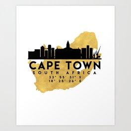 CAPE TOWN SOUTH AFRICA SILHOUETTE SKYLINE MAP ART Art Print