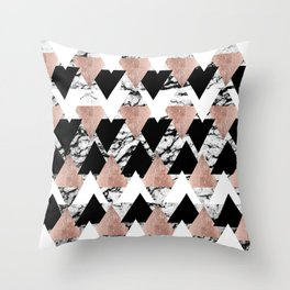 Modern Black White Rose Gold Triangles on Marble Throw Pillow