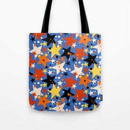 Fun ditsy print with bright colorful stars Tote Bag