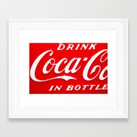 coca cola Framed Art Prints featuring Coca-Cola by Kai Gee