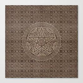Pentagram Ornament Wooden Texture Canvas Print