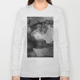 Black and White Ink Painting Abstract Flowing Long Sleeve T-shirt
