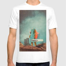 Happiness Here Mens Fitted Tee MEDIUM White