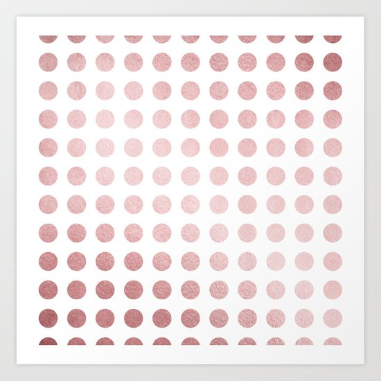 Simply Polka Dots in Rose Gold Sunset and White Art Print