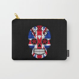 Sugar Skull with Roses and the Union Jack Flag Carry-All Pouch