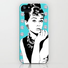 Audrey Hepburn as Holly Golightly with diamond background iPhone Case