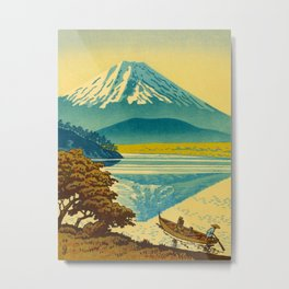Japanese Woodblock Print Vintage Asian Art Colorful woodblock prints Mount Fuji Metal Print
