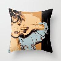 rihanna Throw Pillows featuring Rihanna  by GOLDY